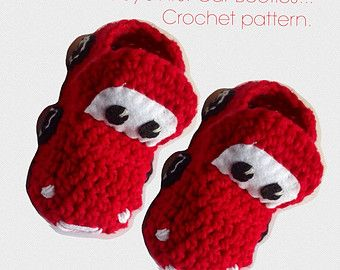Amigurumi Patterns Cars : Baby's first car booties kids shoes lightning mcqueen cars crochet