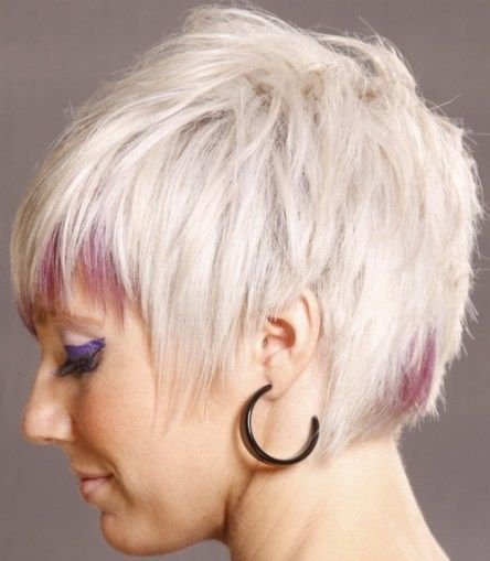 Light Blonde Short Hair Pink Highlights On Bangs And Back Of The