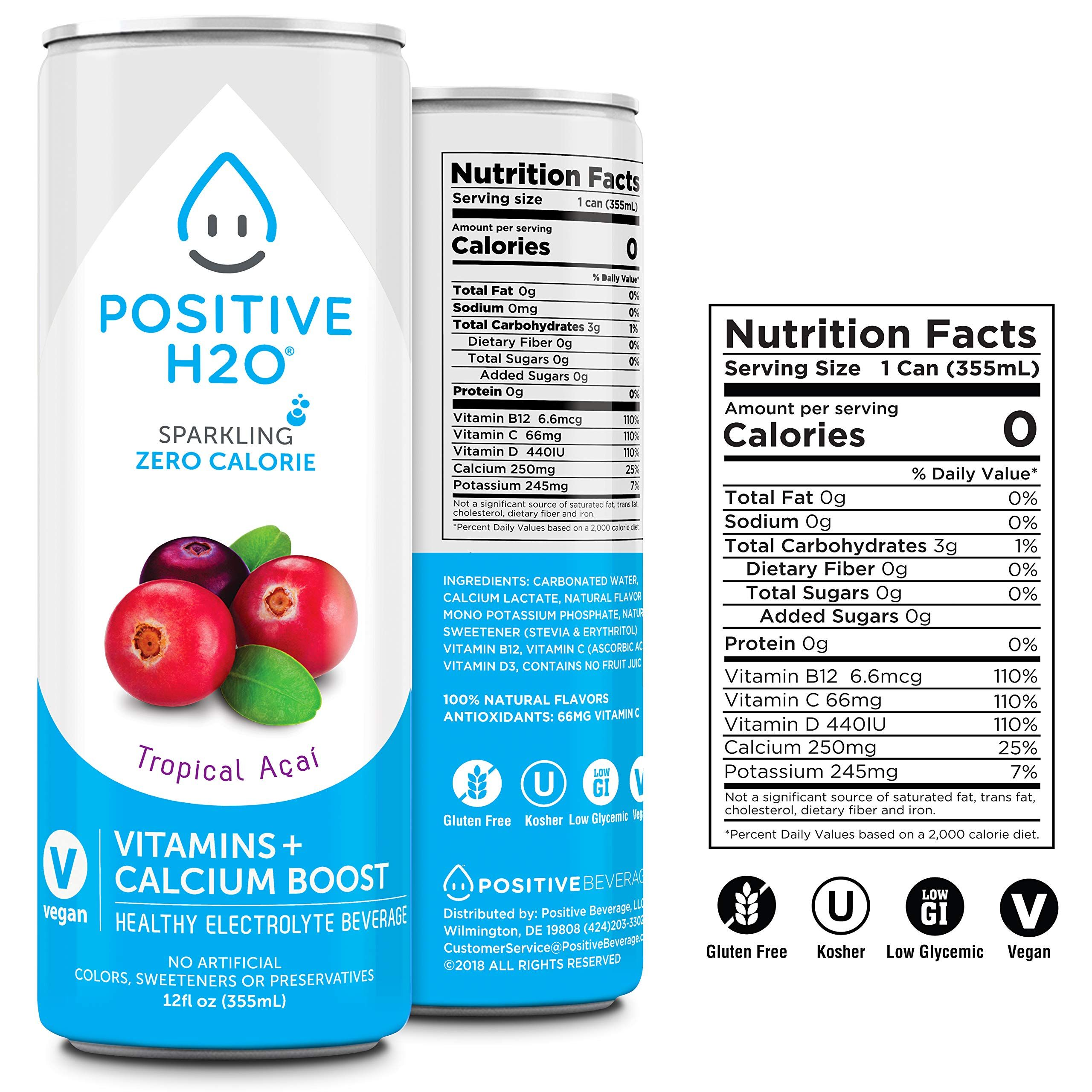 Positive H2o Sparkling Tropical Aa Aa 12 Count 12 Fl Oz Each Positive Beverage For More Information Visit I Healthy Hydration Vegan Drinks Nutrition Facts