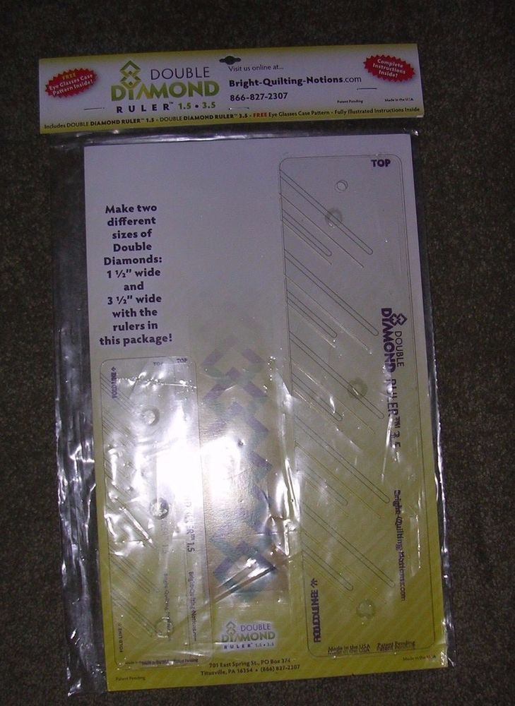 Bright Quilting Notions Double Diamond Ruler 1.5