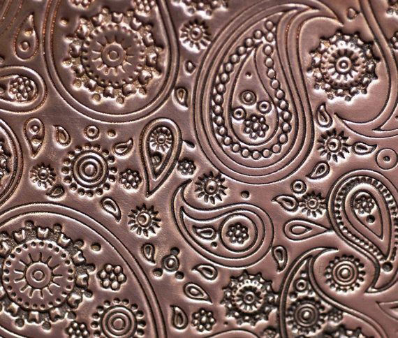Copper Textured Metal Sheet Paisley Pattern 20g 6 X 2 1 4 Inches Bracelets Pendants Metalwork Sheet Metal Crafts Metal Working Metal Sheet