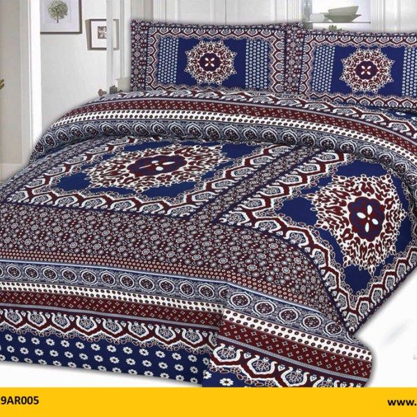 Kt1019ar005 Brand Name Aroosh 3 Pcs Printed Bed Sheets 100 Cotton 1 King