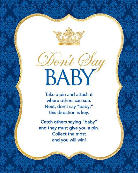Instant Download Royal Blue Prince Don T Say Baby Sign 8x10 Blue