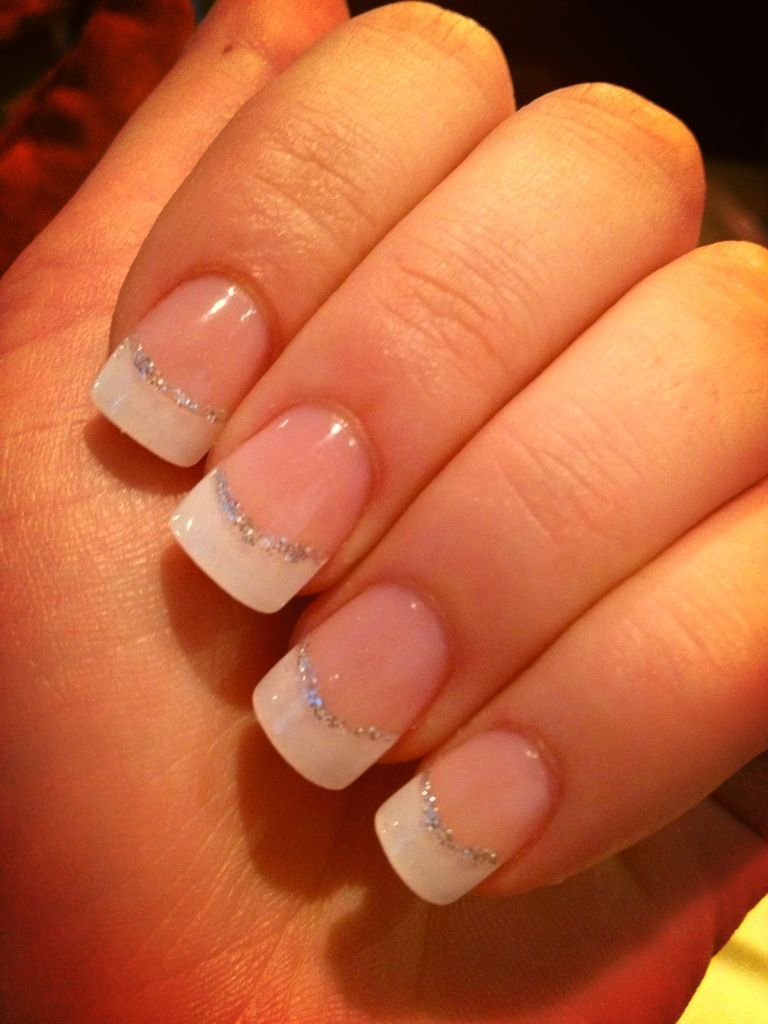 French Tips With Silver Lining Frenchtipnails Glitter French Nails French Tip Nails Fake Nails