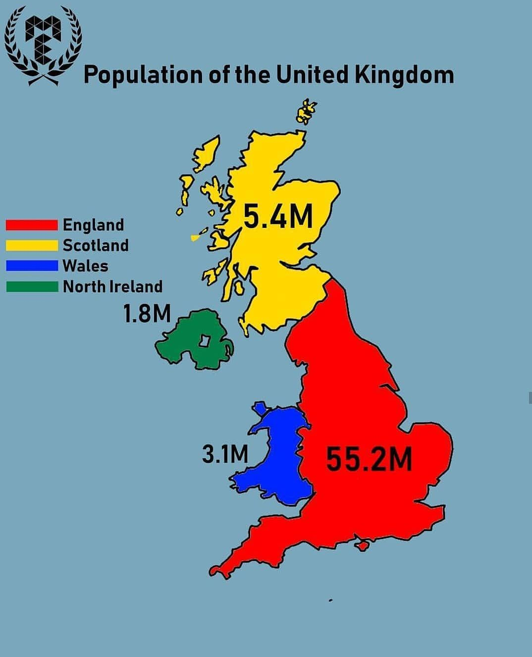 Population Of Different Regions Countries Of The United Kingdom Credi Map Of Britain Historical Maps Europe Map