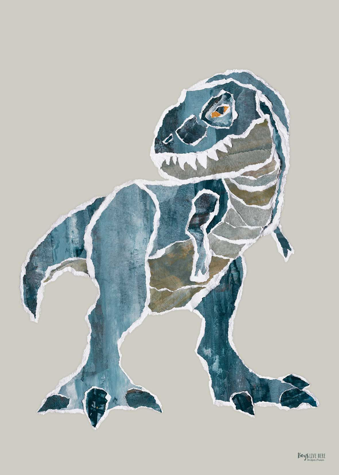 """Mr. Blue Rex"" dinosaur poster print Kate Fisher Artist"