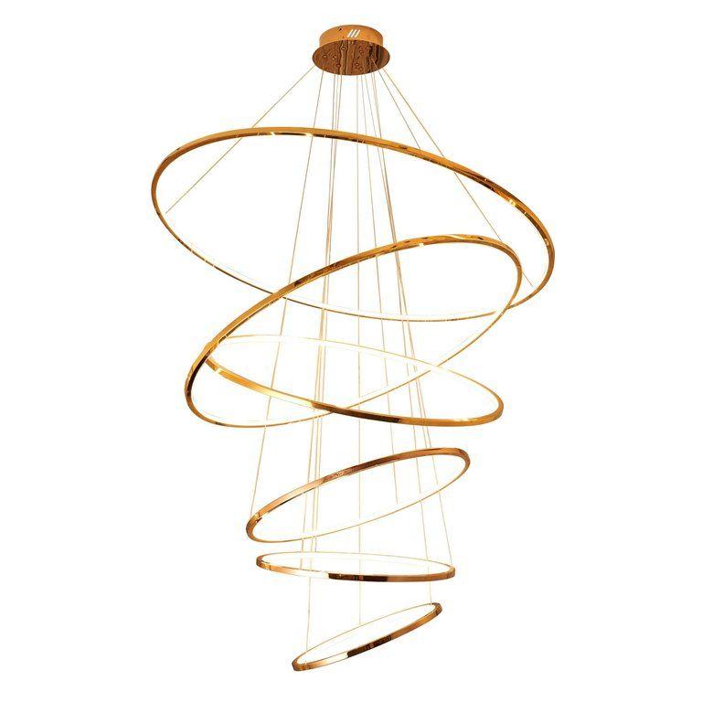 Led Swirl Six Ring Chandelier Pendant Light Contemporary