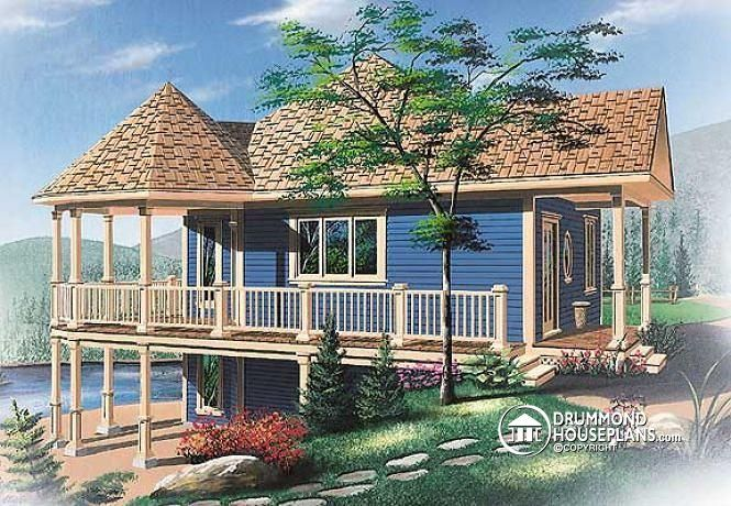 W3900 - Affordable small chalet house plan open floor plan, large ...