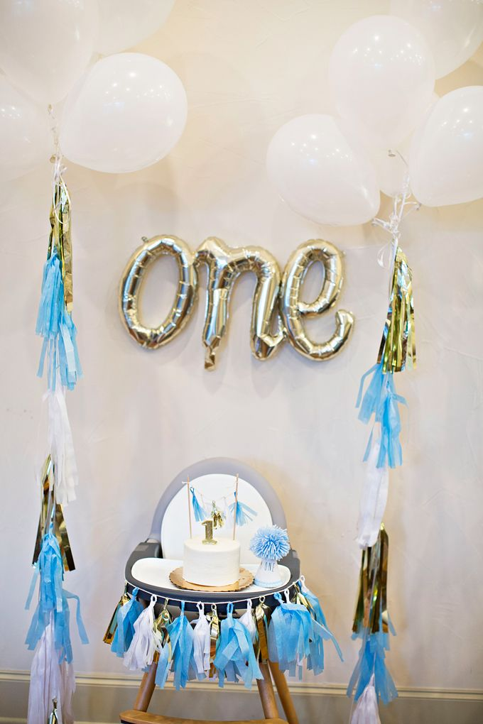 High Chair And Decor For A One Year Old S Birthday Party Boy Birthday Parties 1 Year Birthday Party Ideas Birthday Parties
