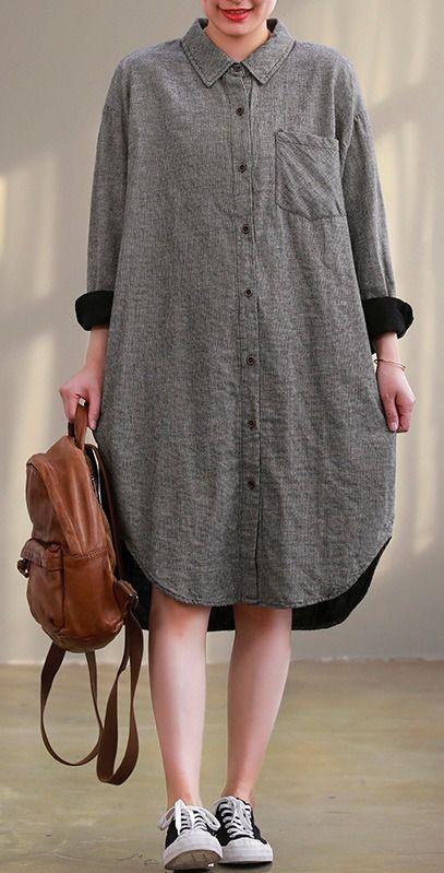 Photo of French lapel Button Down quilting clothes plus size Shape gray Plaid cotton Dres…