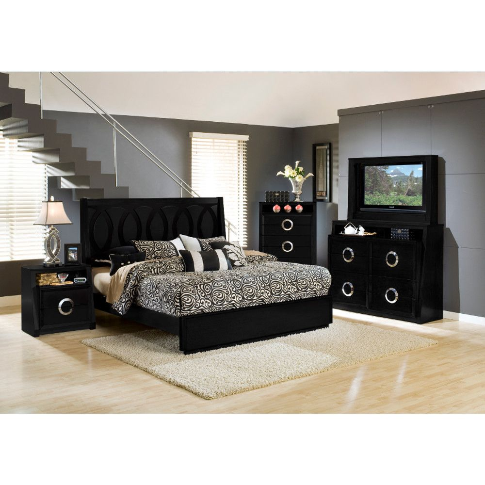 Hollywood Bedroom - Bed, TV Dresser & TV Mirror - Black ...