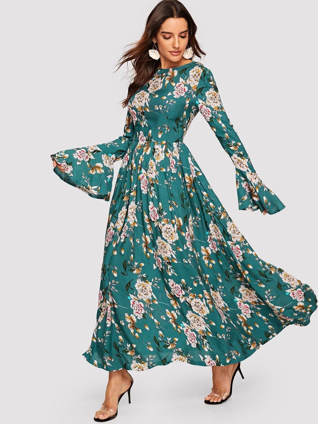 Trumpet Sleeve Floral Maxi Dress Floral Maxi Dress Maxi Dress With Sleeves Floral Lace Maxi Dress [ 1439 x 1080 Pixel ]