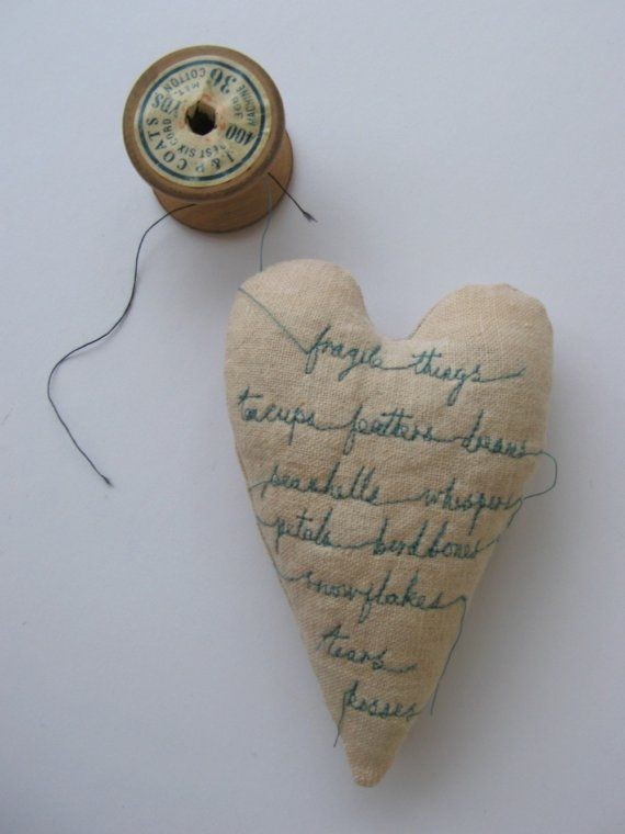 Fragile Things - embroidery art - heart ornament
