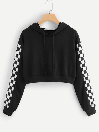 Hooded Drawstring Graphic Print Sweatshirt