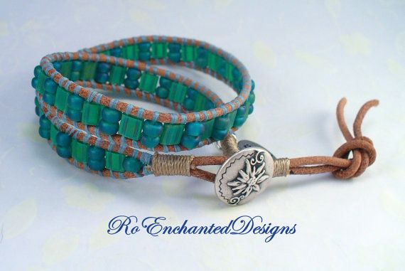 Summer Leather Wrap Bracelet Teal Glass by RoEnchantedDesigns, $25.00
