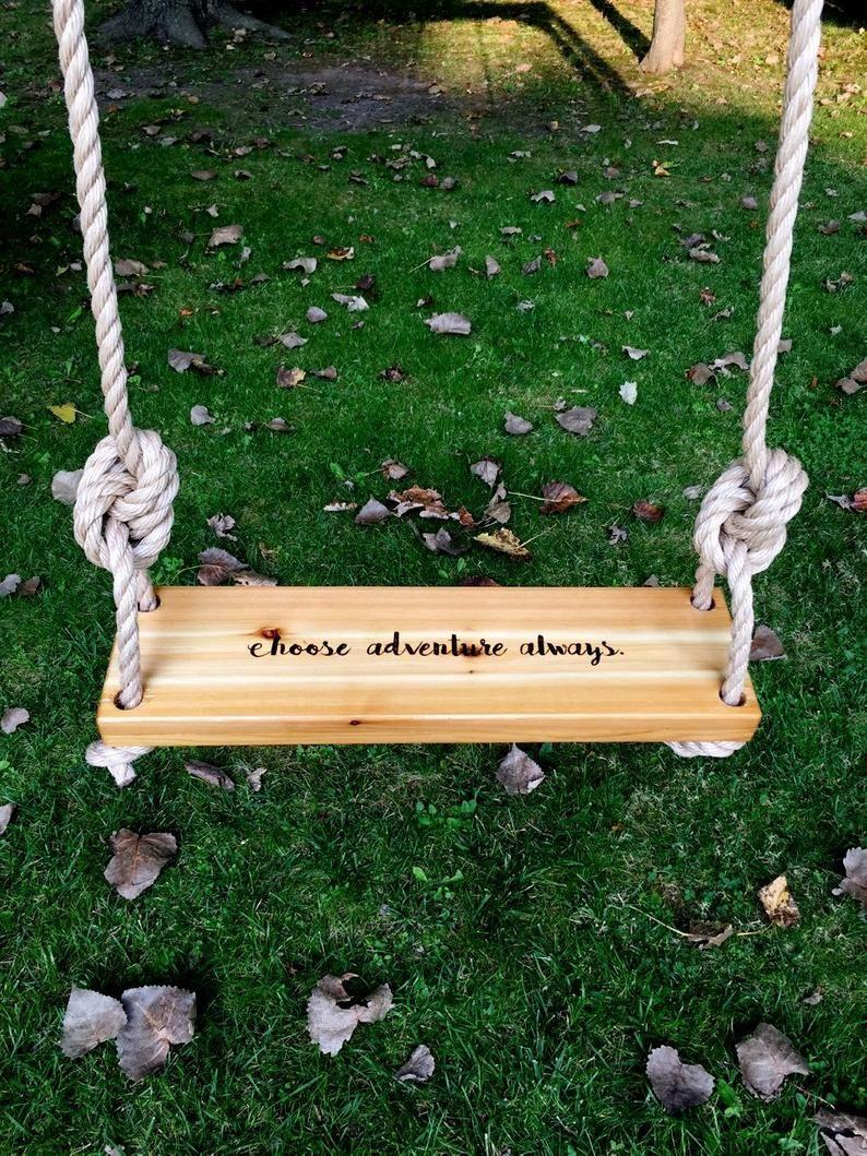 Choose Adventure Always Wooden Tree Swing Engraved Swing Etsy Wooden Tree Swing Outdoor Wooden Swing Tree Swing