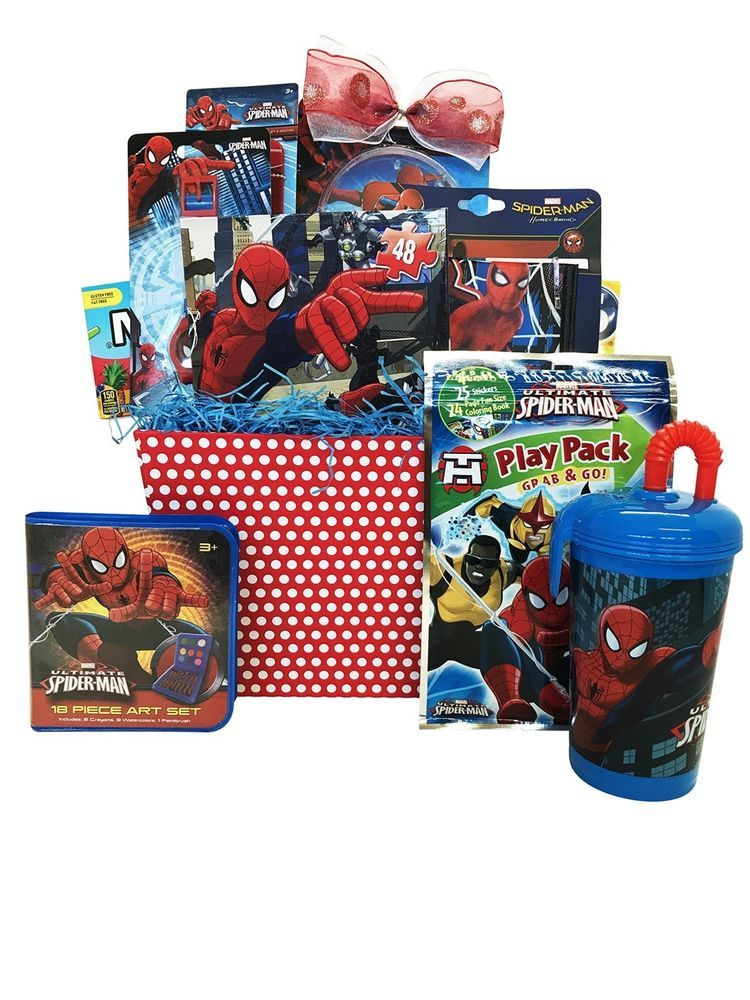 Spider-Man Filled Birthday Easter Gift Basket Pez color puzzle /& more FUN!