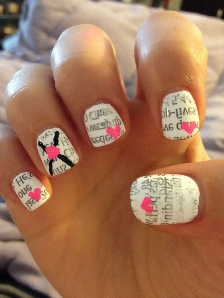 Valentines day nails, hearts, newspaper nails, love letter, vday ...