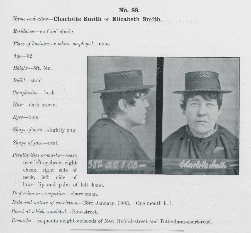 Charlotte Smith A.K.A. Elizabeth Smith - Vintage Mug Shot.