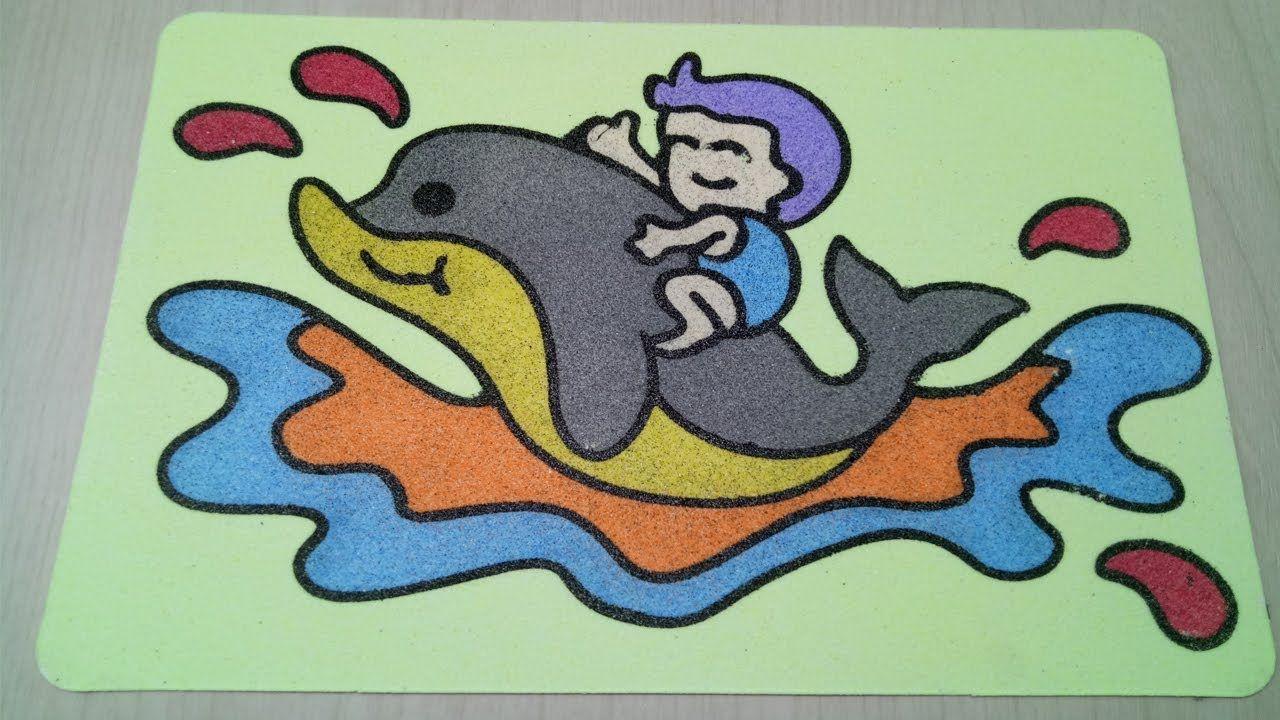 Sand Painting Art Mewarnai Gambar Baby Shark Dengan Gambar