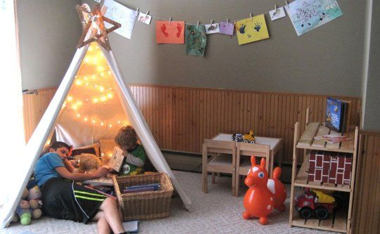 Kids playroom with reading tent, play kitchen and play market #teepee