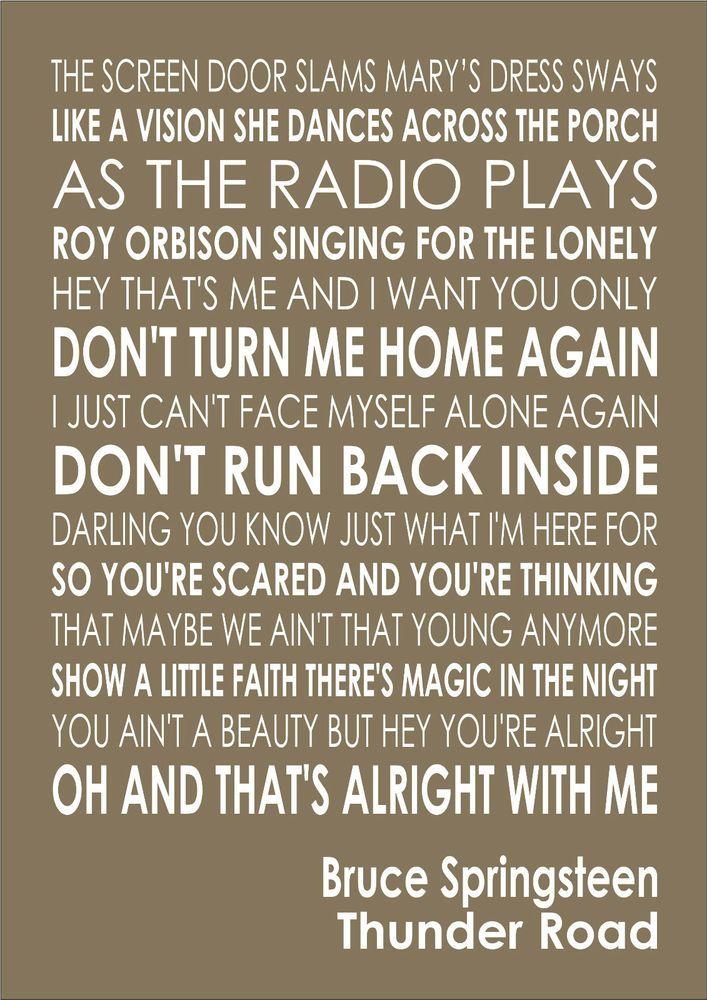 Thunder Road Bruce Springsteen Lyrics Song Verse Lyric Wall Art