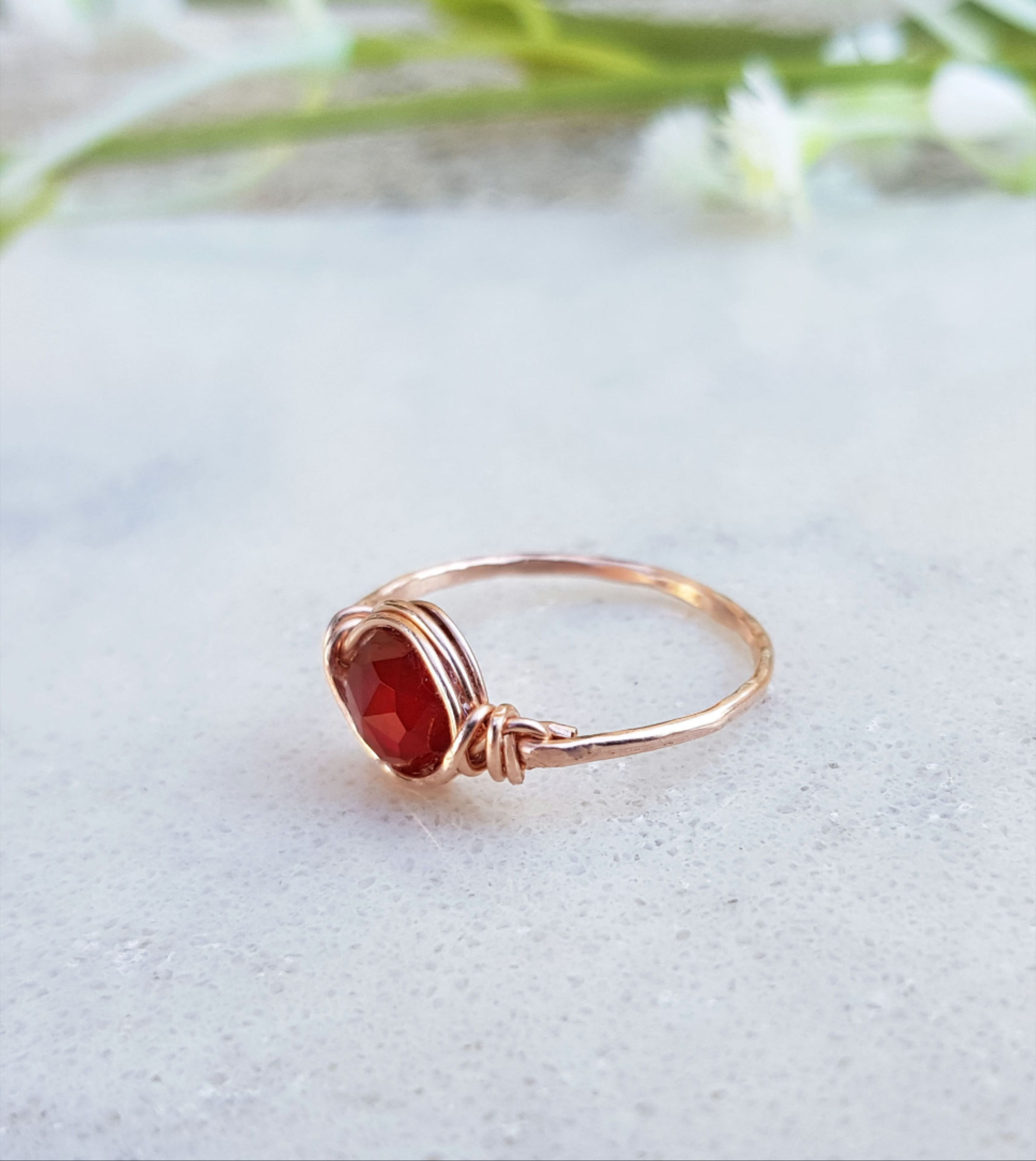 ring of the day stackable ring 925 sterling silver ring unique ring Natural garnet ring boho ring gift for her valentine day gift.