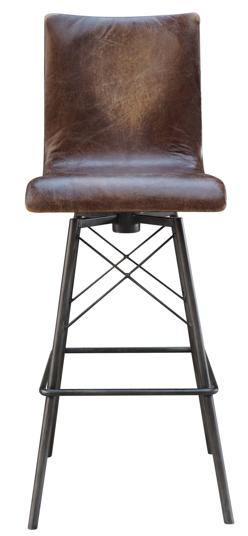 Jenna Weathered Swivel Leather Bar Stool With Metal Cross Base 360 Spin No Spring Seat 30