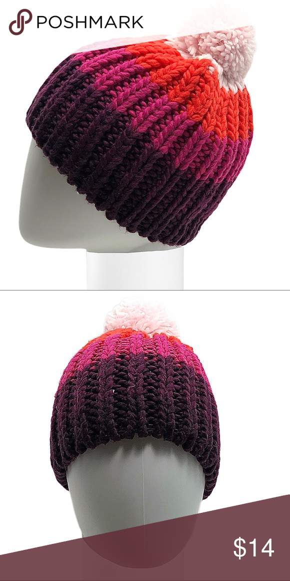 Rainbow Pom-Pom Knit Hat