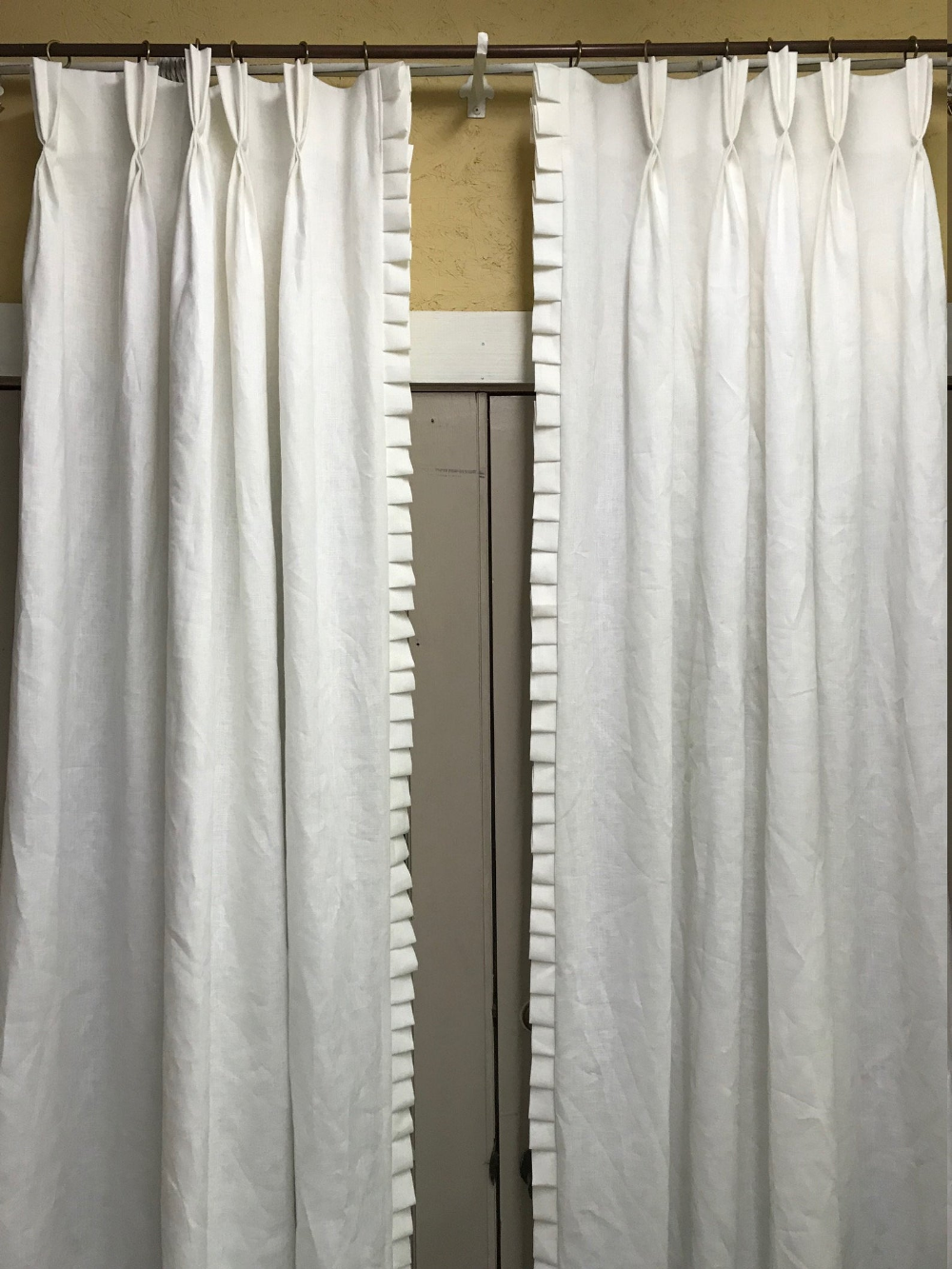 Handmade White Linen Drapes One Pair Single Width Linen Drapery Panels Traditional Pinch Pleats Pleated Trim Detail Sewn Onto Leading Edges In 2020 Drapery Panels Drapery Linen Curtains