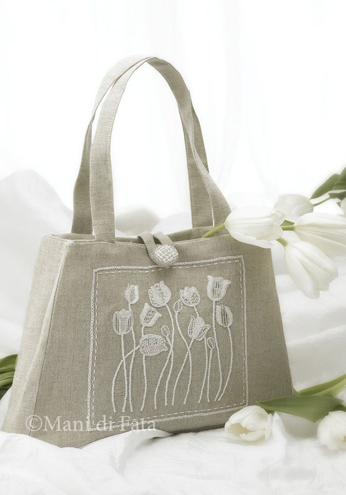 borsa con tulipani ricamati
