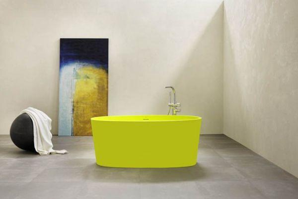 Badmöbel Design Modern Ideen Gelbe Badewanne Freistehend