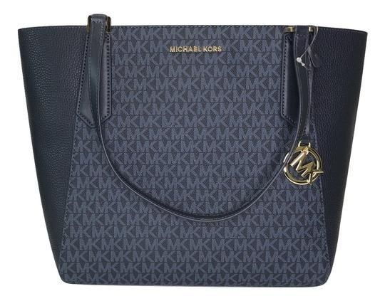 8f9f1bc2609b Save big on the Michael Kors Kimberly Large Bonded Signature Mk Admiral Navy  Leather Satchel! This satchel is a top 10 member favorite on Tradesy.
