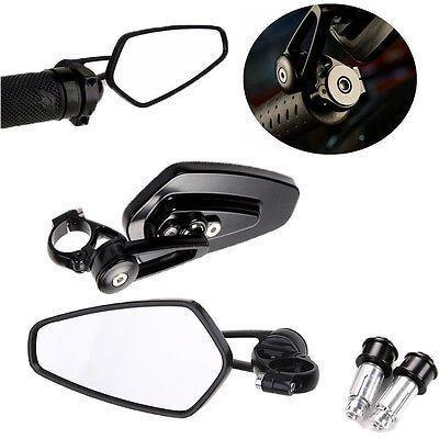 """One Pair Universal Motorcycle 7//8/"""" Handle Bar End Rearview Mirrors Black CNC USA"""