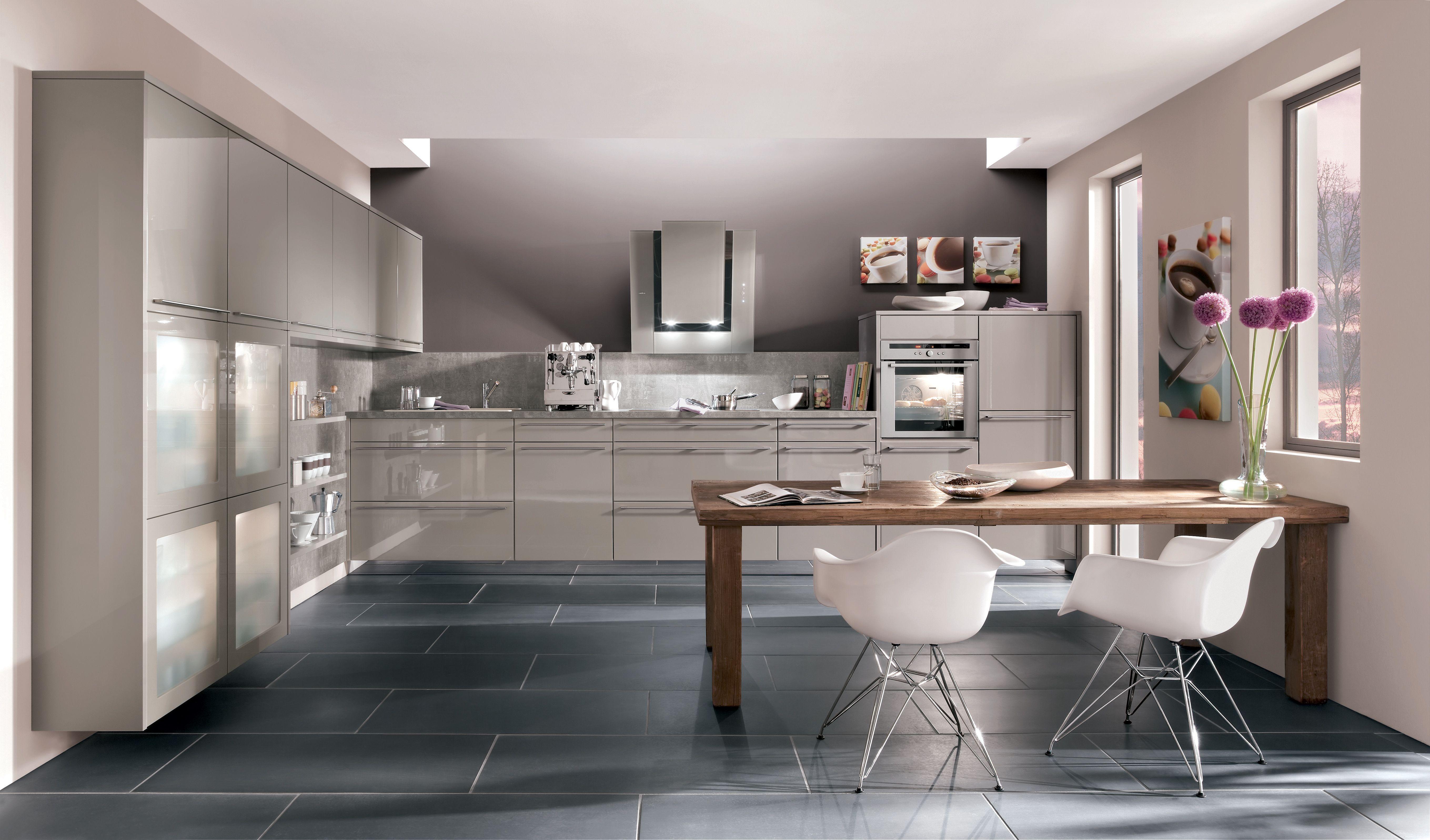 Cuisine en L gris/beige laquée #CuisineAvivA | Kitchen | Pinterest ...