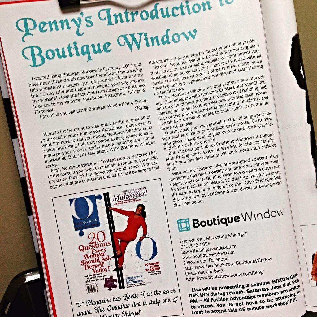 Thank you Fashion Advantage Magazine for the seriously awesome article!!