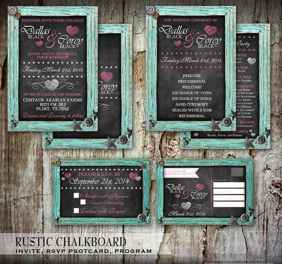 Rustic Chalkboard Wedding Invitation RSVP Card And Info Accommodations Set