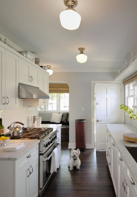 White Shaker Cabinets Galley Kitchen bosworth hoedemaker white, blue & gray galley kitchen design with