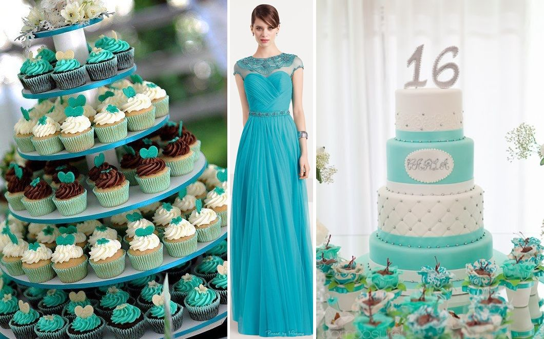 89dc52e3b bolo de debutantes azul turquesa e dourado - Pesquisa Google Bolos Azul  Tiffany