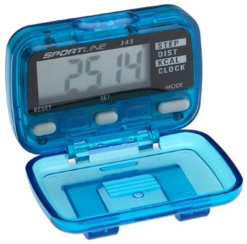 Sportline 345 Electronic Pedometer. Easy-to-use pedometer displays distance traveled, steps taken, and calories burned. Ideal for walking, hiking, or jogging. Flip-down cover provides easy access to tracking buttons. Measures distance from 0.01 to 1,000 miles. Features a time of day clock, sensitivity adjustment, individual stride, miles/kilometers display, and a belt clip.