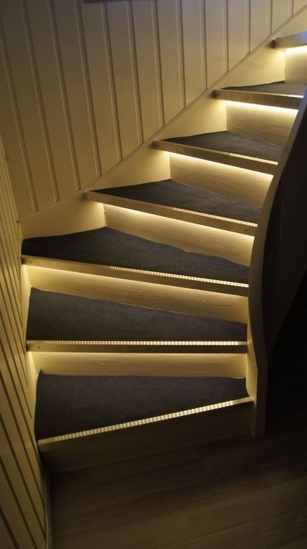 Lighting Basement Washroom Stairs: Stair Makeover With Accent Lighting