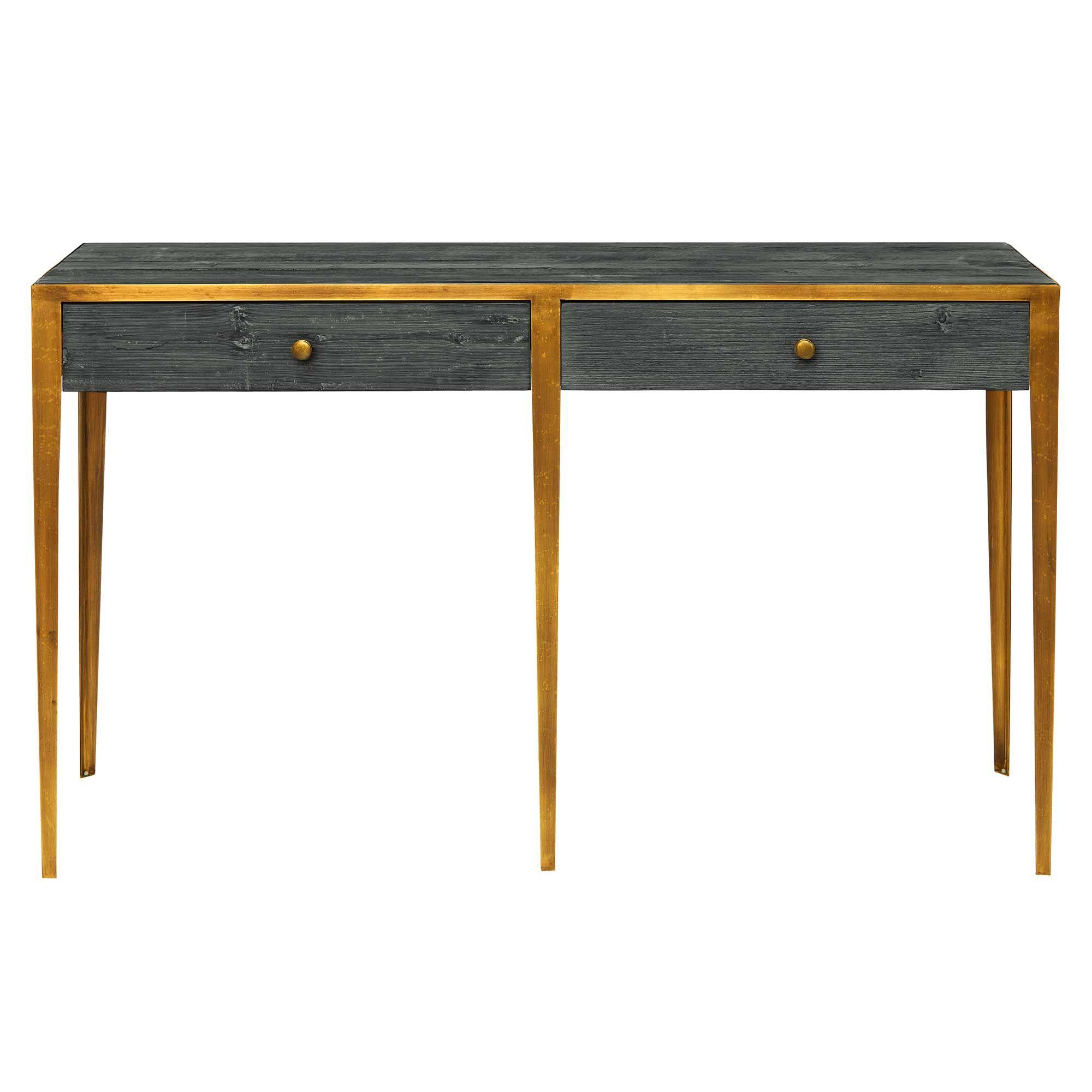 san francisco d8bf3 5d63d Shoreditch Console Table, Stone Grey & Brass - Barker ...