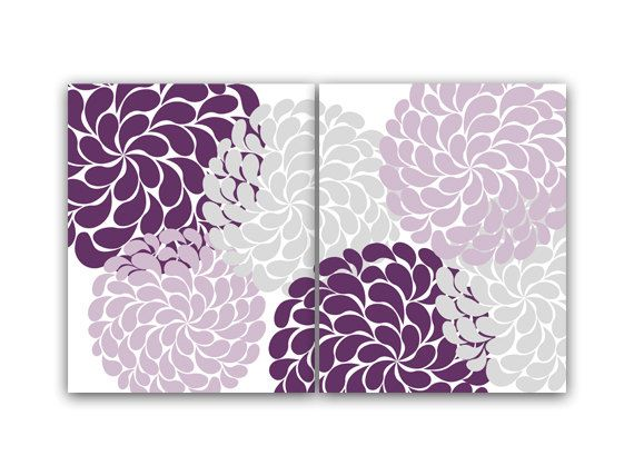 Purple and gray flower burst wall art home decor wall art - Purple and grey living room accessories ...