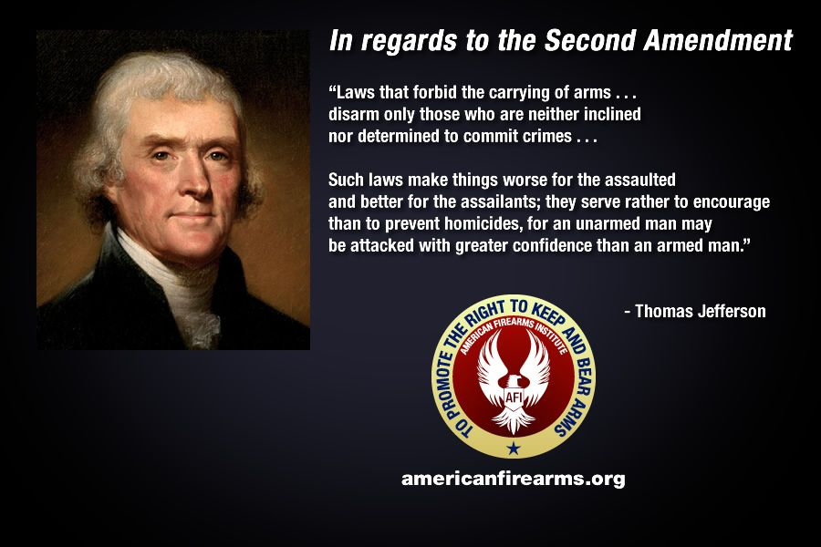 Thomas Jefferson in regards to the Second Amendment, Amen to this