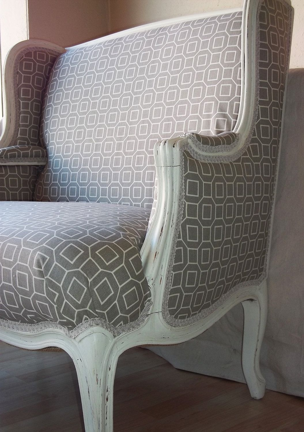 Oversized Upholstered Chair Outdoor Wicker Hanging With Stand Wing Back In Abstract Grey Fabric For The Home