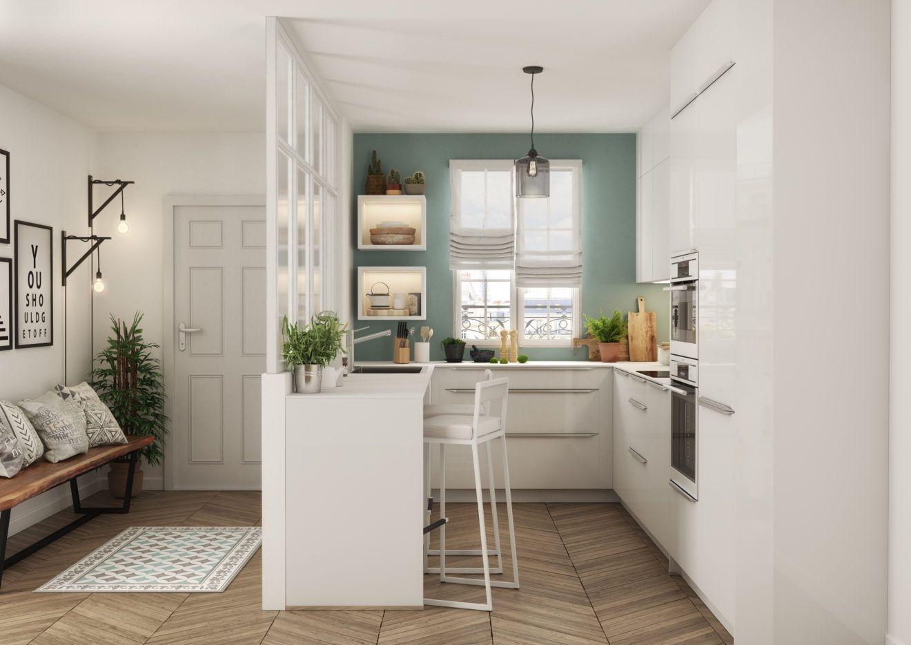 Peinture et décoration : une cuisine verte en 15  Amenagement
