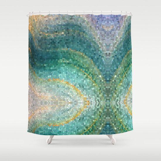 Mermaid Shower Curtain Artistic Shower Mermaid S Tail Teal