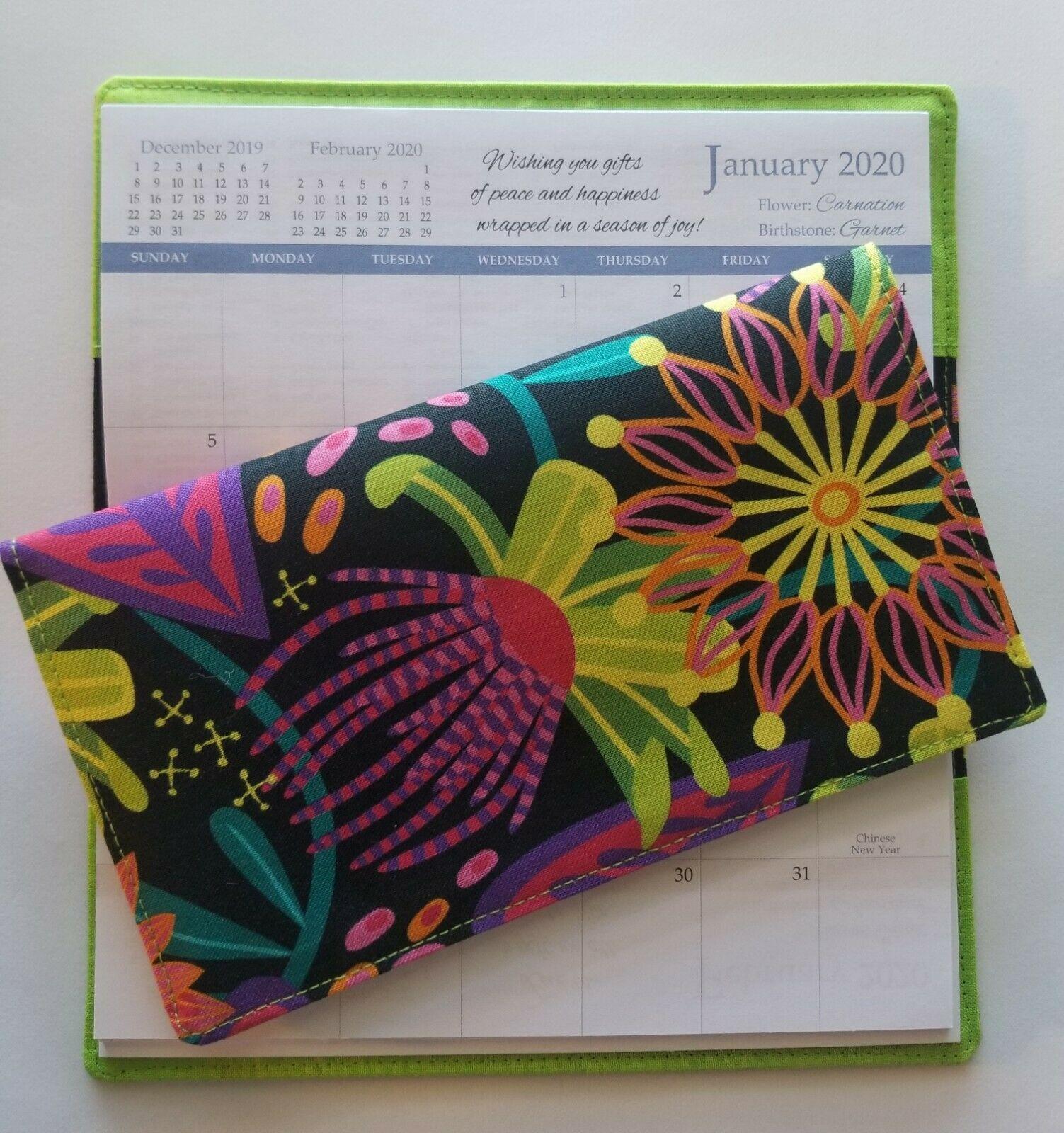 Cotton Fabric Black Floral Multi 202021 Pocket Calendar
