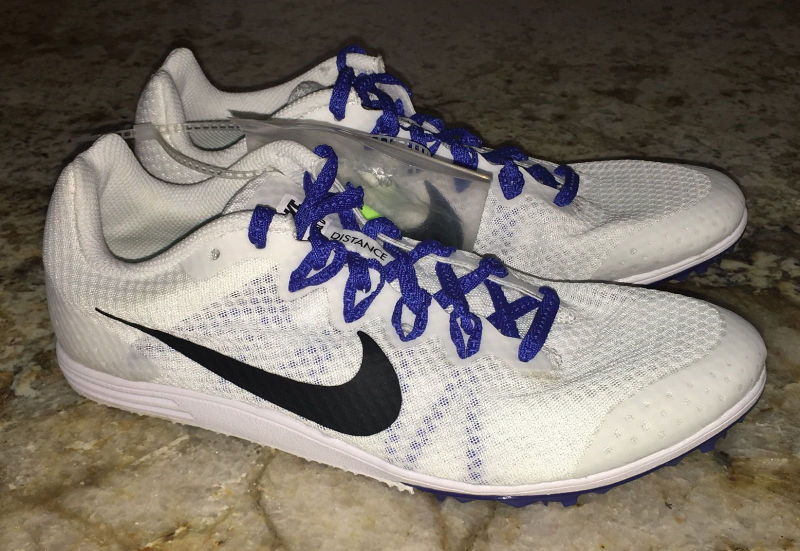 New Womens 8 NIKE ZOOM RIVAL D 9 White Blu Black Mid Distance Track Spikes  Shoes
