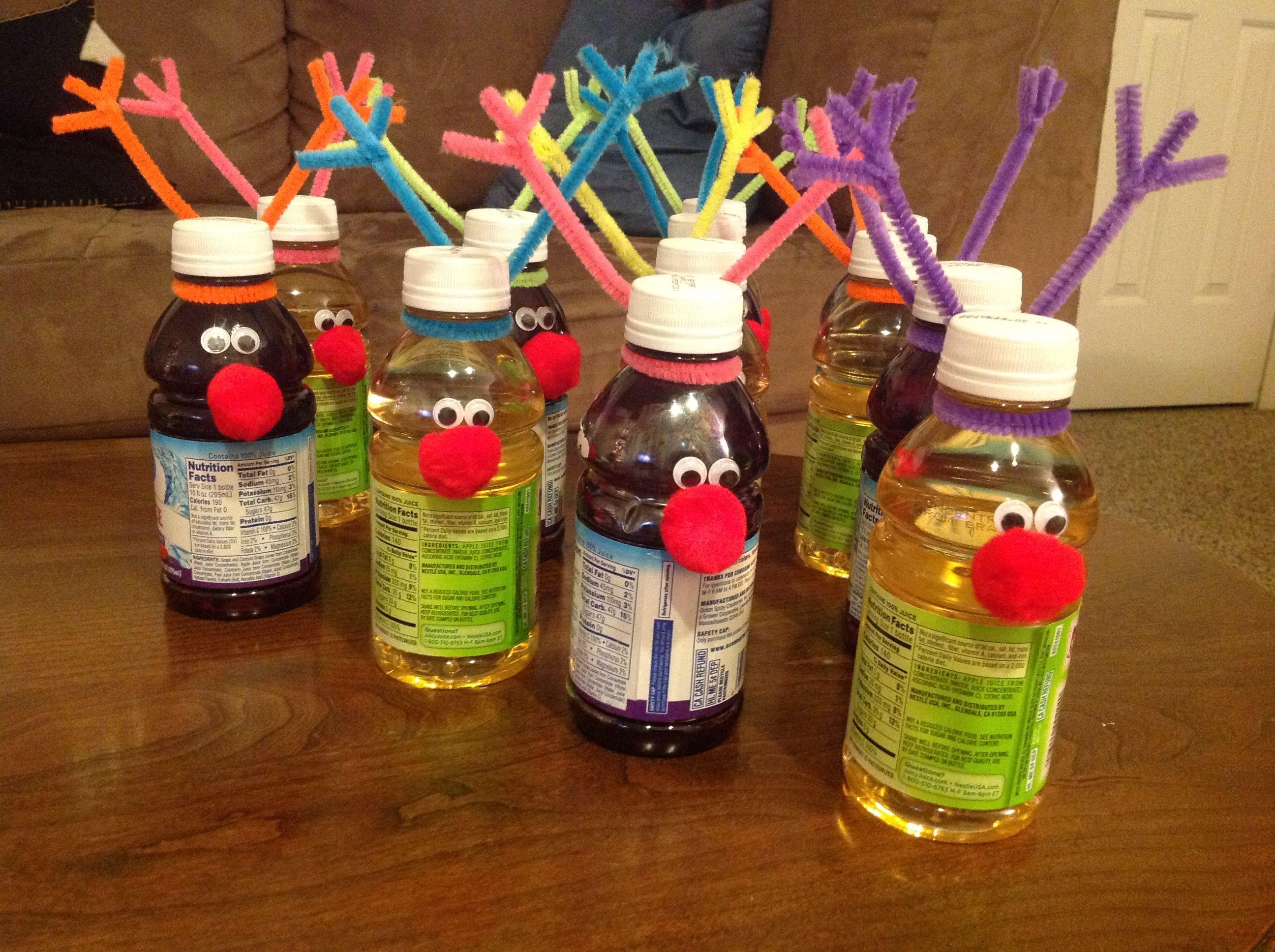 Reindeer Juice Bottles For Sanae S School Christmas Party Christmas Party Kids Gifts Goodies Juice 크리스마스
